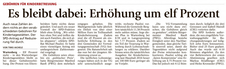 Bericht Münchner Merkur vom 20.09.2016
