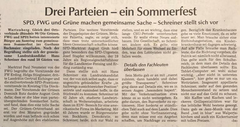 Bericht von Bernd Spanier in der Moosburger Zeitung vom 16.07.2019
