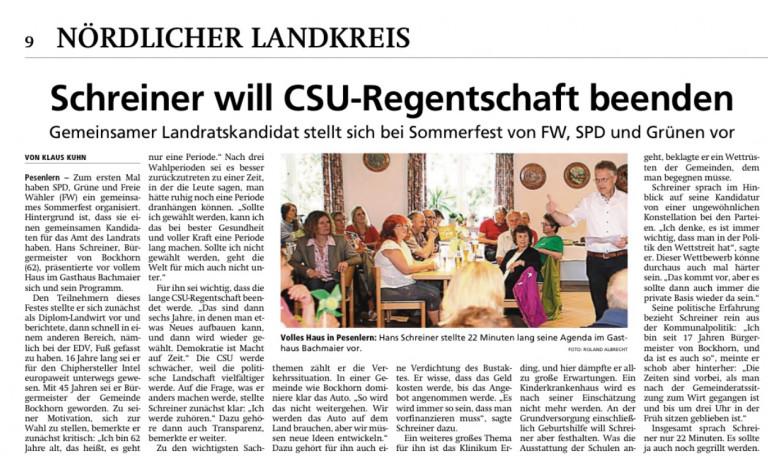 Bericht von Klaus Kuhn im Münchner Merkur vom 15.7.2019